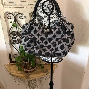 Coach black gray and silver large purse
